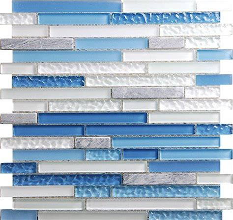 sky blue linear glass mosaic tile sheets  kitchen