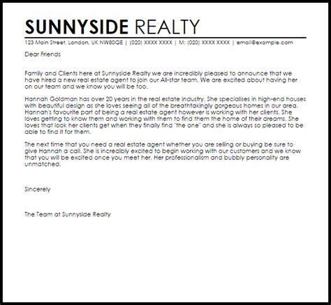 real estate agent announcement letter  letter