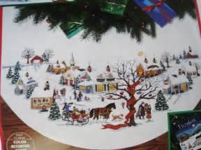 dimensions counted cross tree skirt craft kit christmas village wysocki 8472 45 quot ebay