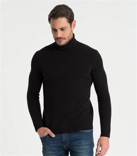 black mens black lambswool 39 s polo neck jumper woolovers