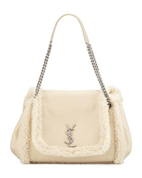 saint laurent nolita medium ysl shearling shoulder bag neiman marcus