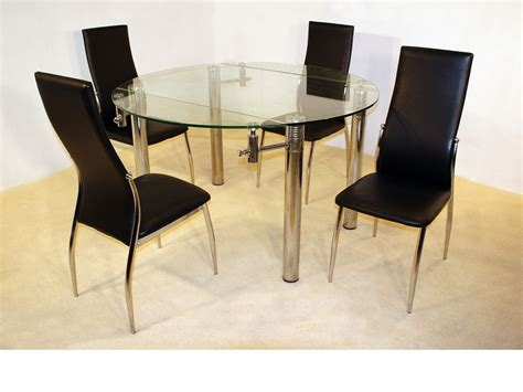 clear glass dining table and 4 chairs large 130cm round clear glass dining table 4 chairs