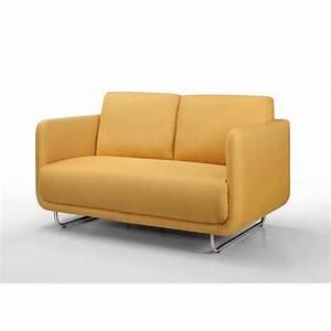 canape droit vintage cubique 2 places jonaz en tissu jaune With tapis jaune avec canape convertible retro