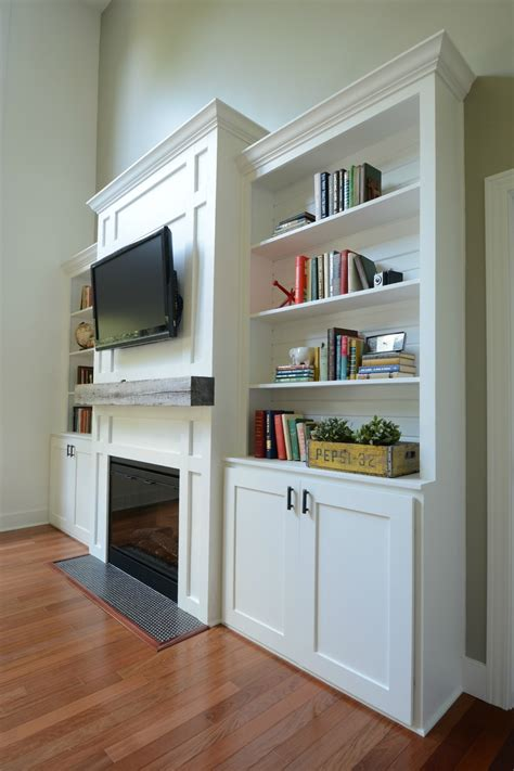 living room built  cabinets decor   dog