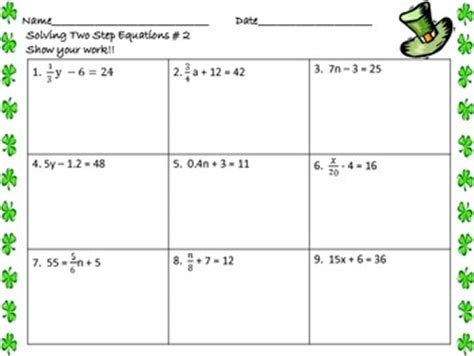 solving two step equations worksheets st s day by math central