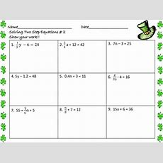 Solving Twostep Equations Worksheets St Patrick's Day By