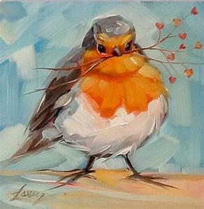 Lunatique Robin peinture 4 x 4 impressionniste par ...