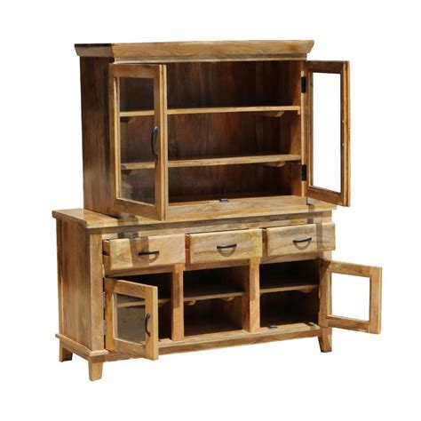 Mango Wood Sideboard by Aflon Rustic Mango Wood Glass Door Dining Sideboard With Hutch
