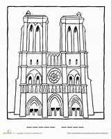Dame Notre Coloring Drawing Famous Pages Paris Cathedral Worksheets Landmarks Worksheet Education France Landmark French Crafts Tower Artists Printable Eiffel sketch template