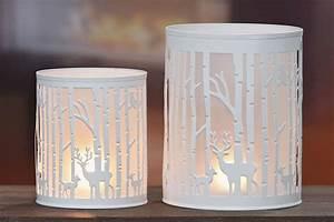 Windlicht Weiß Metall : windlicht forest wald hirsch metall teelichthalter landhaus weiss ~ Markanthonyermac.com Haus und Dekorationen