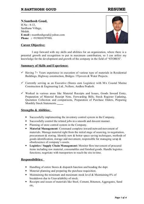 Resume Exles In Word Format by Storekeeper Cv Format In Word Resume Format