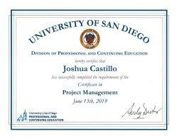 certificate benefits university  san diego