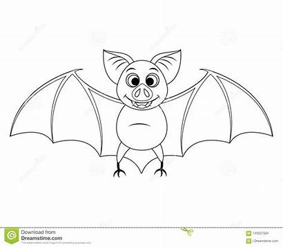 Bat Cartoon Halloween Funny Flying Illustration Coloring