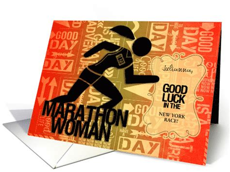good luck marathon woman custom card