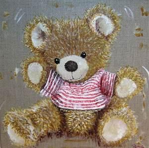 petite toile acrylique nounours en peluche toile With affiche chambre bébé avec peinture acrylique sur toile fleurs