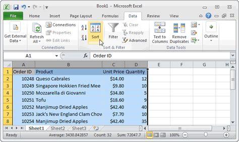ms excel 2010 sort data in alphabetical order based on 1