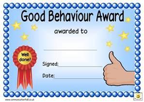 Good Behavior Award Certificate Template