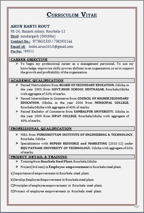 Mba Marketing Experience Resume Format by Resume Co Resume Sle For Mba Diploma In Human Resource And Marketing Fresher