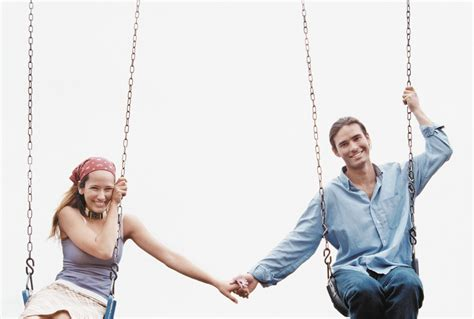 couples swing holding on swing set retirement only the