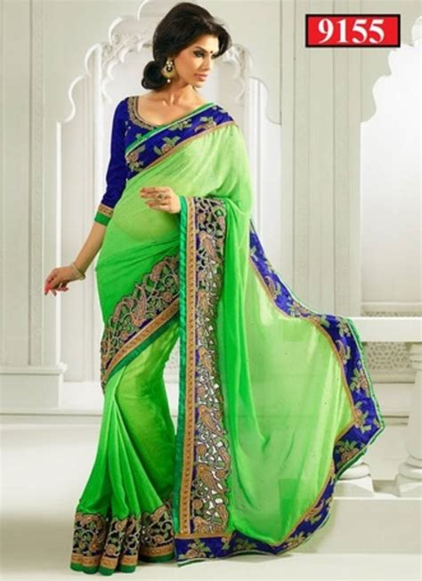 buy parrot green and royal blue embroidered jacquard saree with blouse