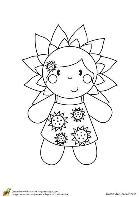 jeux cuisine dessin à colorier d une poupée fleur tournesol