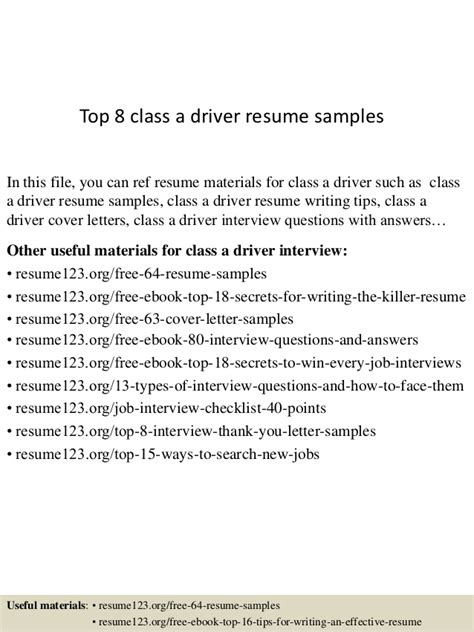 class 1 driver resume top 8 class a driver resume sles