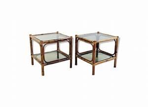 Canapé En Bambou : paire de bouts de canap en bambou verre et cristal beige bon tat thnique ~ Melissatoandfro.com Idées de Décoration