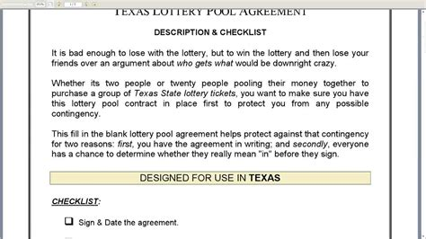 Office Lottery Pool Contract Template Costumepartyrun