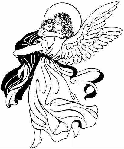 Angel Clipart Line Drawing Clip Praying Guardian