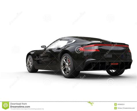 Black Luxury Sports Car On White Background  Rear View