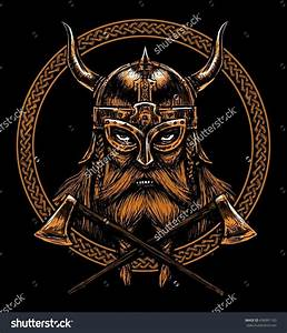 Ancient viking head in a ring with scandinavian ornament ...