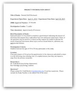 Project Information Sheet Example
