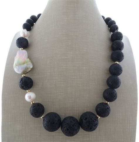 reserved  clare black lava rock necklace beaded