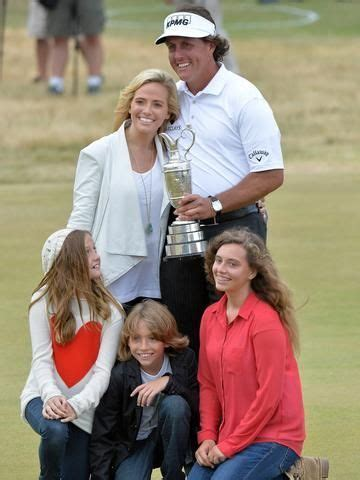 Phil Mickelson embraces the Claret Jug and his family ...