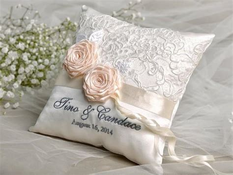 lace wedding pillow ring bearer pillow embroidery names lace roses custom colors