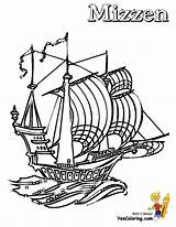 Ship Coloring Pirate Pages Drawing Sailing Sunken Ships Pirates Boats Tall Template Mizzen Yescoloring Boys Sketch Seas sketch template