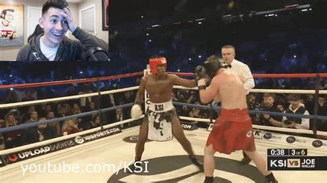 ksi  joe weller reaction   boxing match youtube
