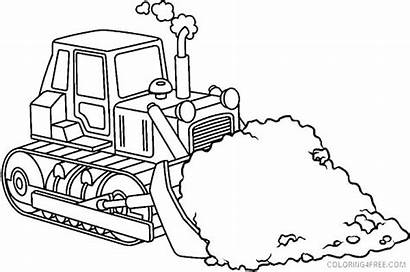 Coloring Construction Pages Equipment Crane Bulldozer Heavy