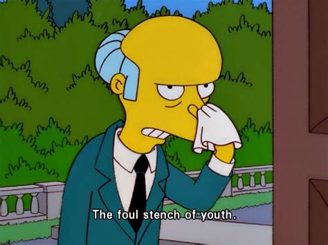 Simpsons Meme - quot the foul stench of youth quot mr burns the simpsons funny cause its true pinterest
