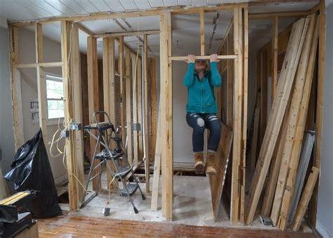 jack  jill bathroom framing sawdust girl
