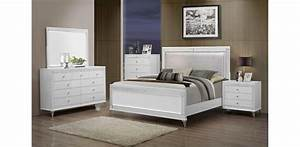 Catalina metallic white bedroom set 5pc global furniture for Bedroom set white