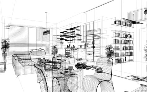 Wireframe Modern Home Render Architecture Stock