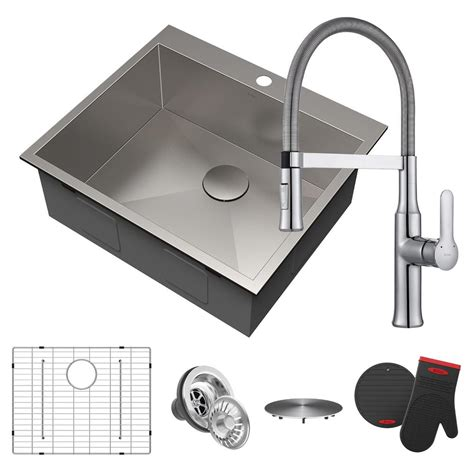 25 stainless steel kitchen sink kraus pax all in one drop in stainless steel 25 in 1 7308