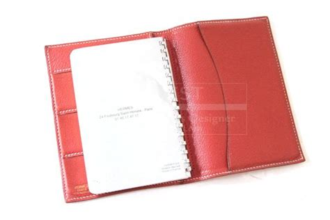 Hermes Red Leather Agenda Credit Card Holder-9.0000 Business Logo Hidden Message Zone Blank Letter Template For Students Shirts Uniforms Reply Legal Clothing