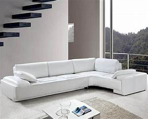 White leather modern design sectional sofa set 44l0738 for Sectional sofa set up