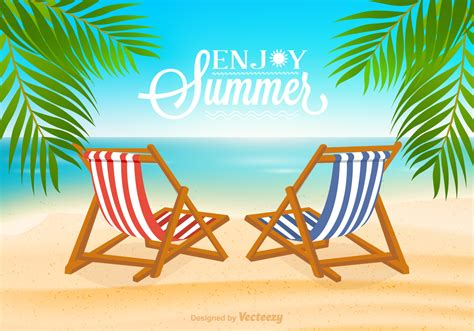 beach deck chair vector illustration