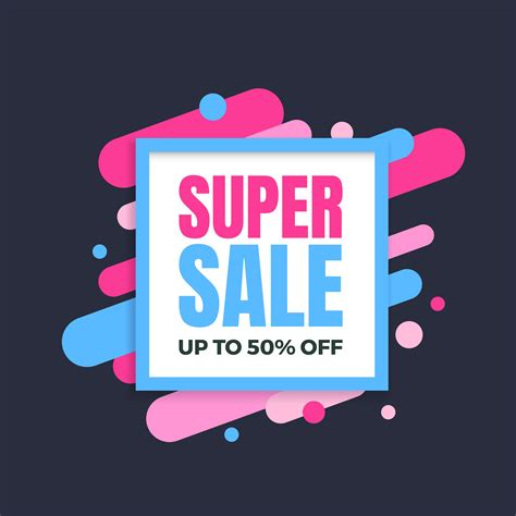 Super sale banner, colorful and playful design 266054 ...