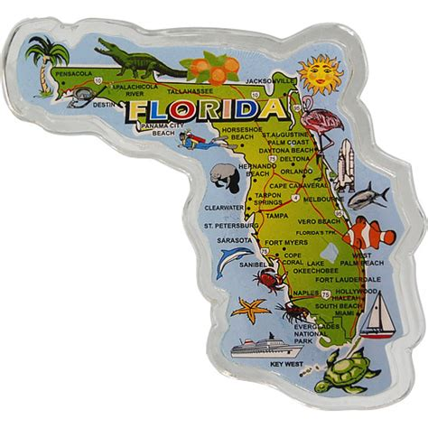 large florida state map fridge magnet  acrylic