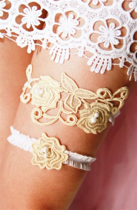 Wedding Garter Set Bridal Garter  Rustic Boho Bridal
