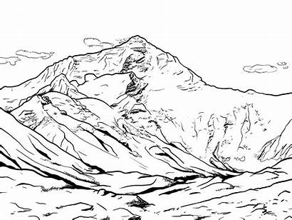 Everest Mount Coloring Draw Pages Step Drawing